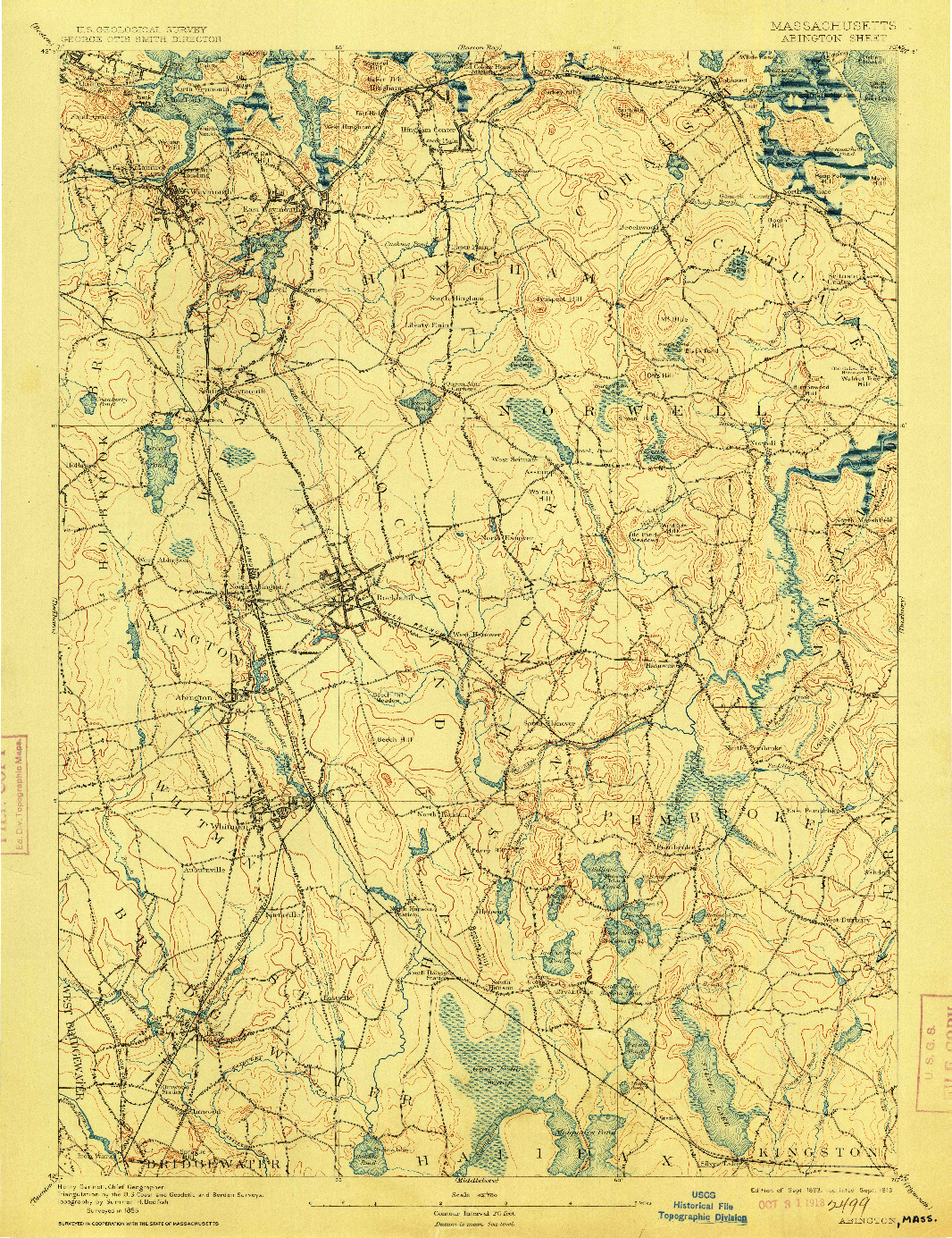 USGS 1:62500-SCALE QUADRANGLE FOR ABINGTON, MA 1893