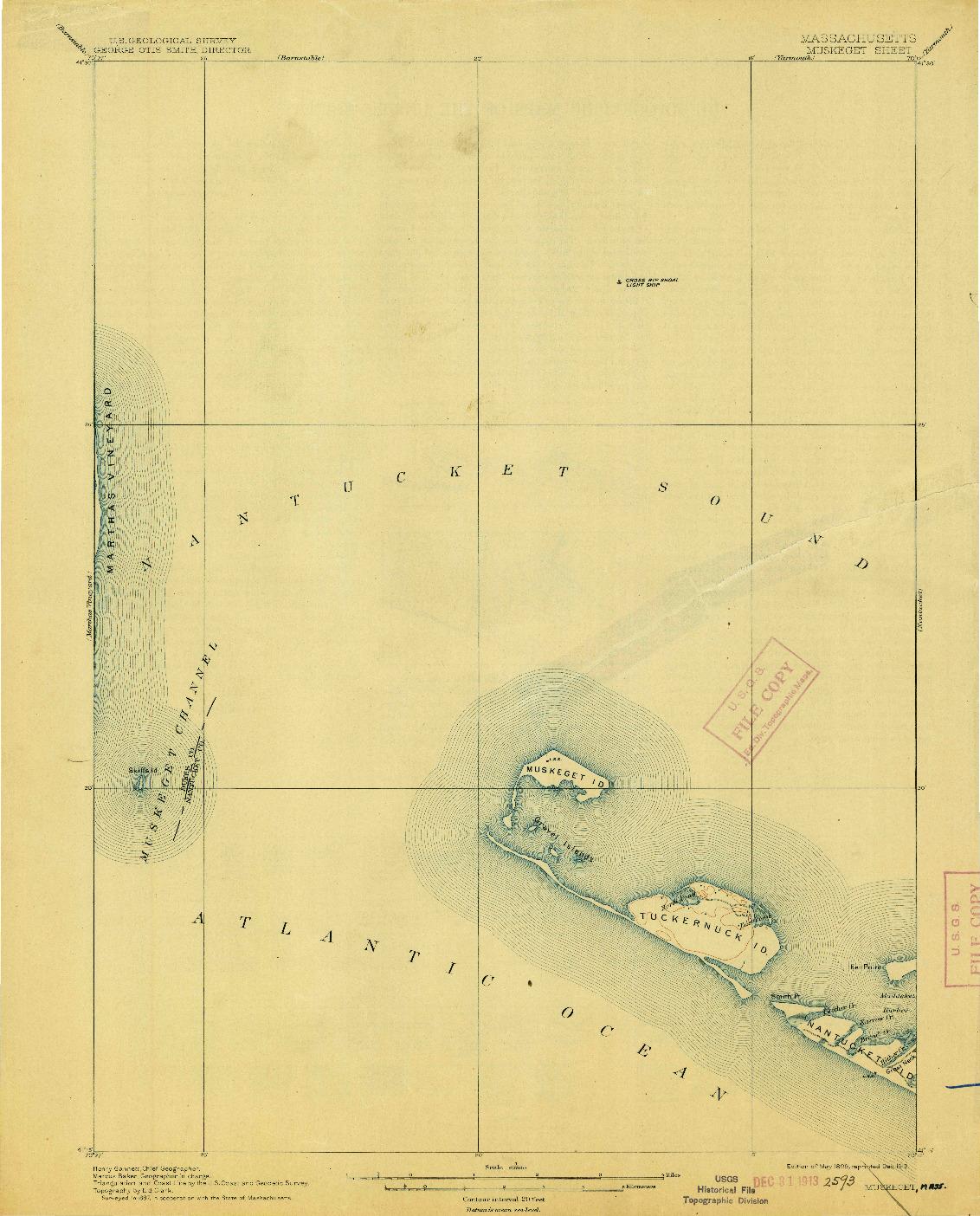 USGS 1:62500-SCALE QUADRANGLE FOR MUSKEGET, MA 1899