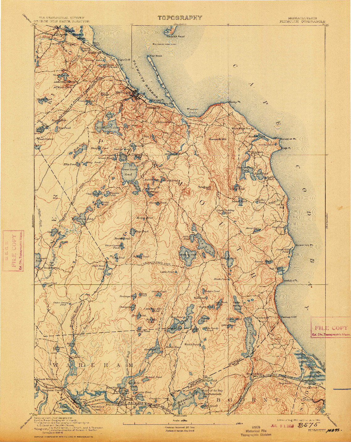 USGS 1:62500-SCALE QUADRANGLE FOR PLYMOUTH, MA 1894