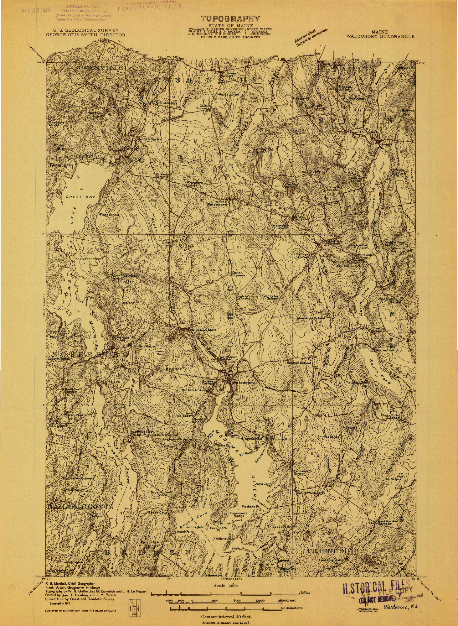 USGS 1:48000-SCALE QUADRANGLE FOR WALDOBORO, ME 1913