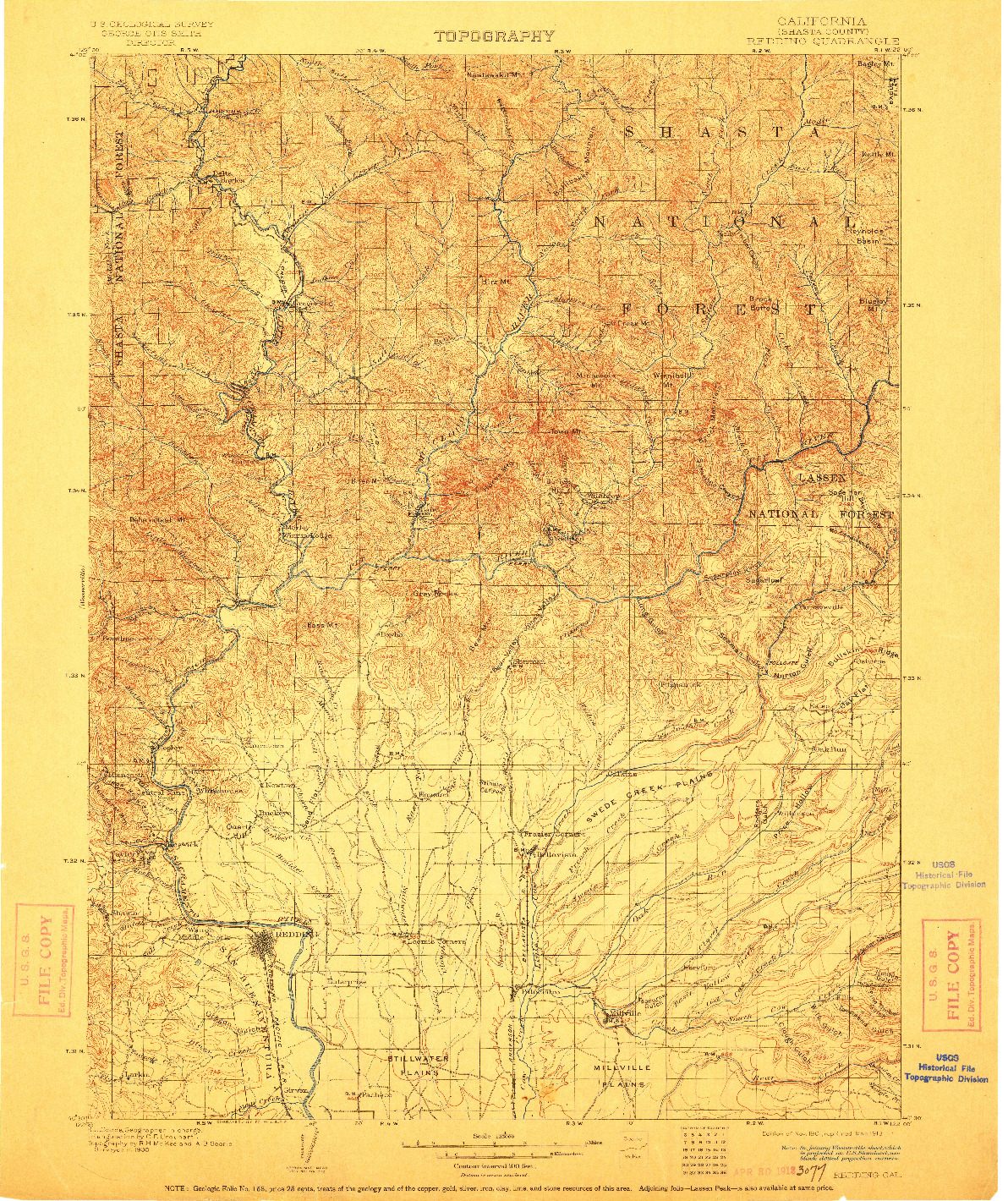 USGS 1:125000-SCALE QUADRANGLE FOR REDDING, CA 1901