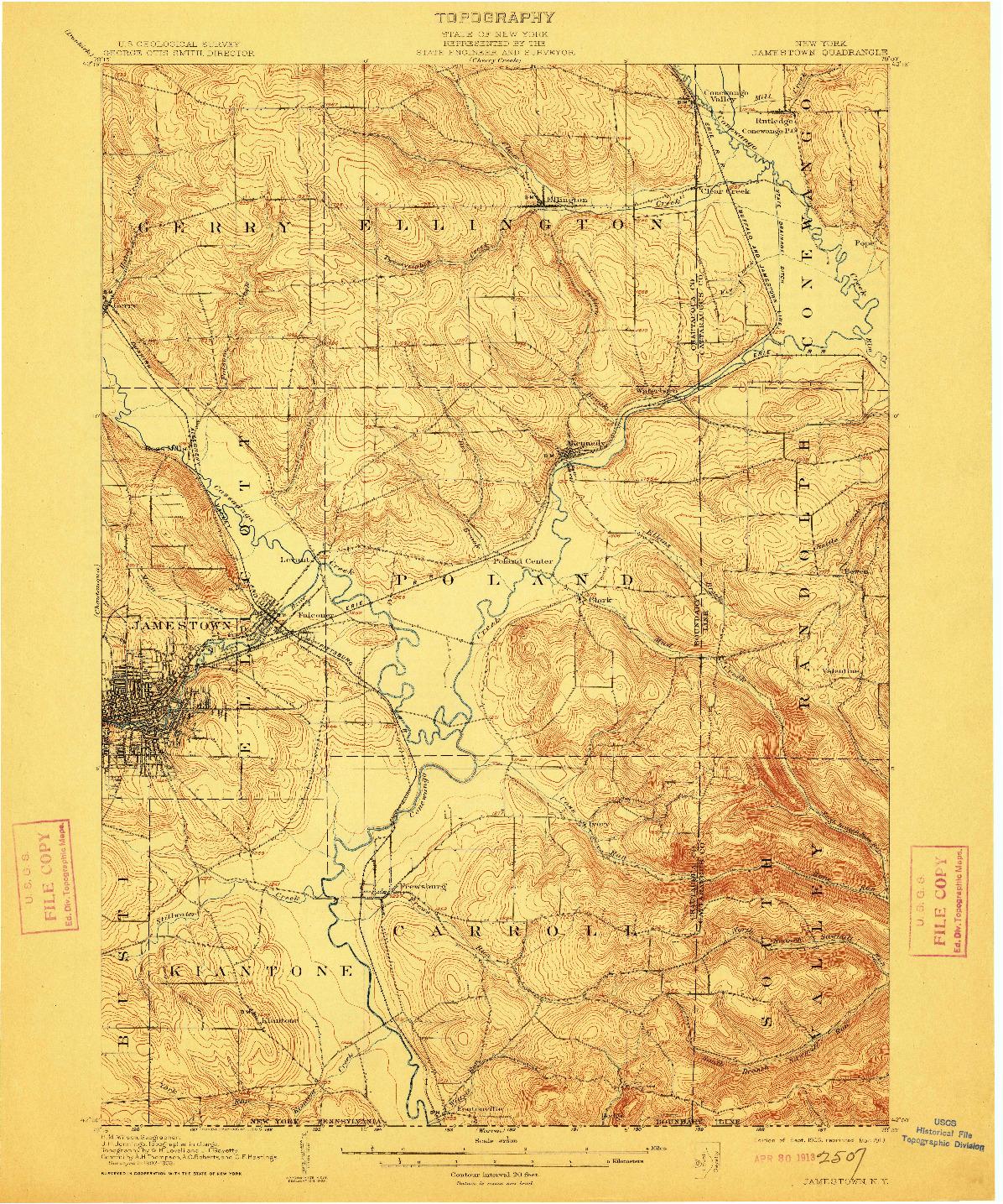 USGS 1:62500-SCALE QUADRANGLE FOR JAMESTOWN, NY 1905