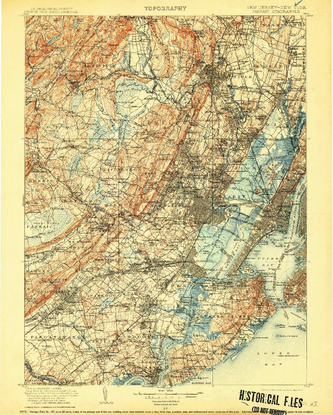 USGS 1:125000-SCALE QUADRANGLE FOR PASSAIC, NJ 1905