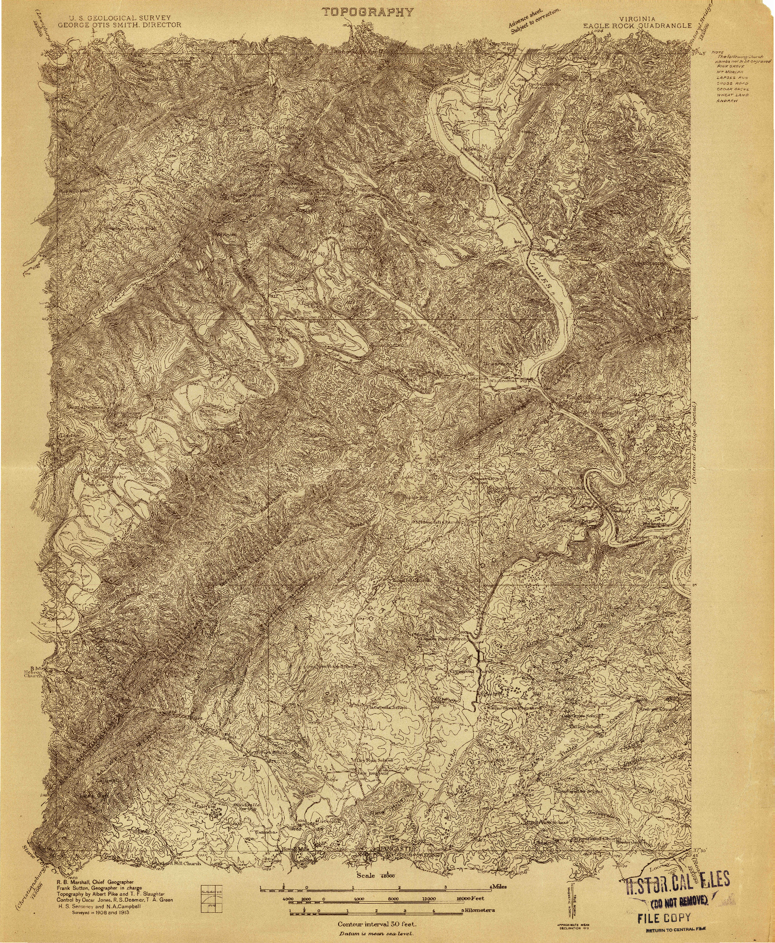 USGS 1:48000-SCALE QUADRANGLE FOR EAGLE ROCK, VA 1913