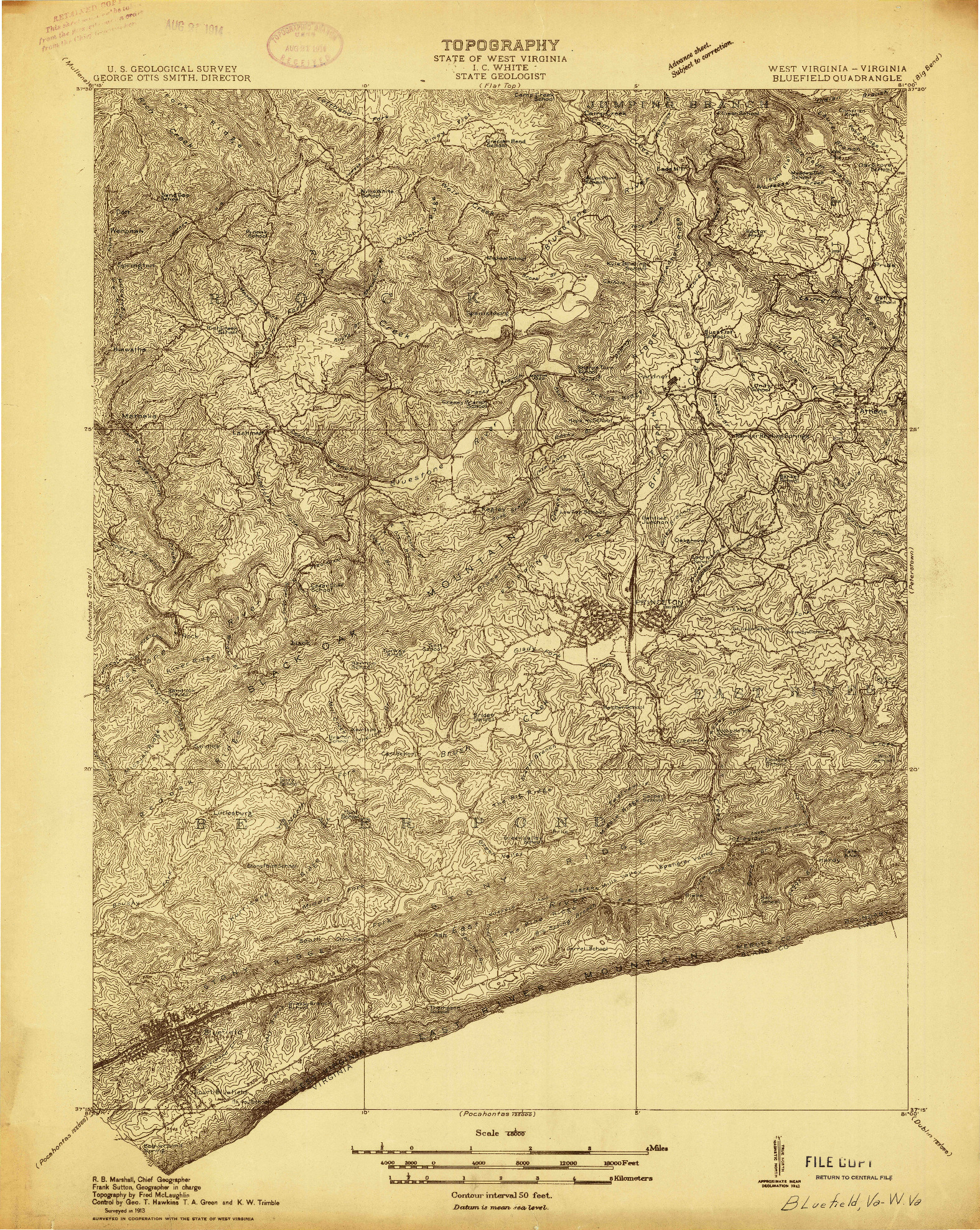 USGS 1:48000-SCALE QUADRANGLE FOR BLUEFIELD, WV 1913