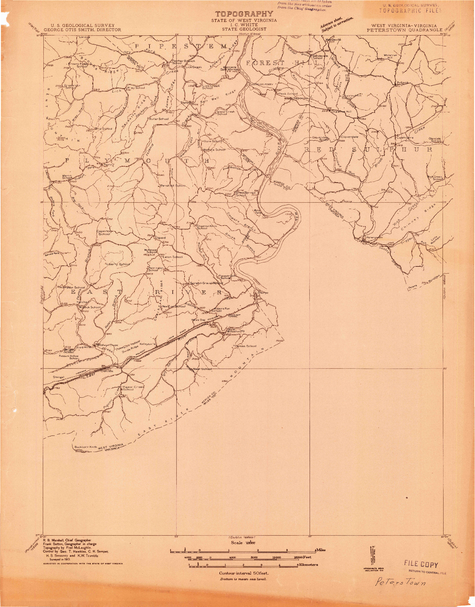 USGS 1:48000-SCALE QUADRANGLE FOR PETERSTOWN, WV 1913