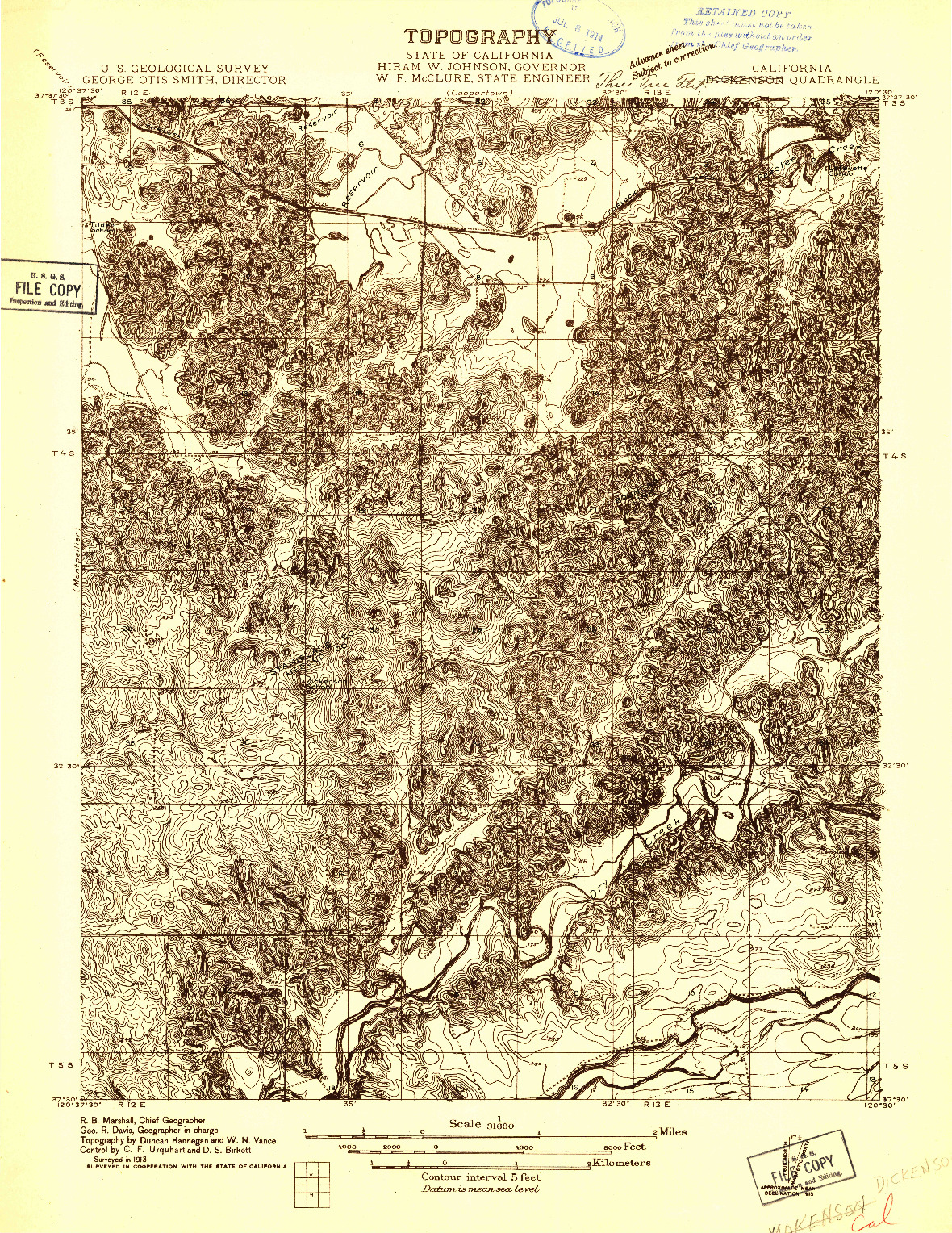 USGS 1:31680-SCALE QUADRANGLE FOR DICKENSON, CA 1913