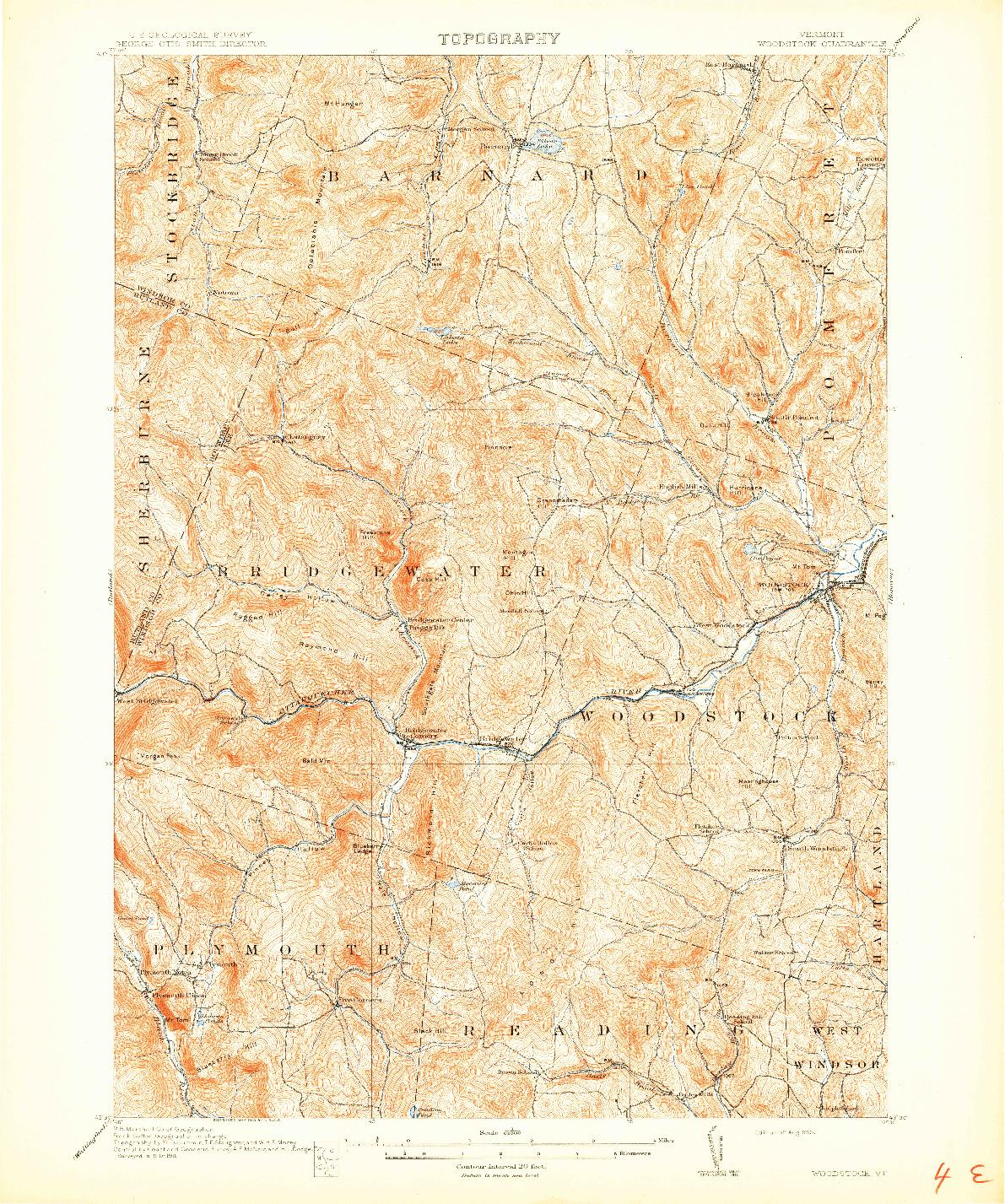 USGS 1:62500-SCALE QUADRANGLE FOR WOODSTOCK, VT 1913