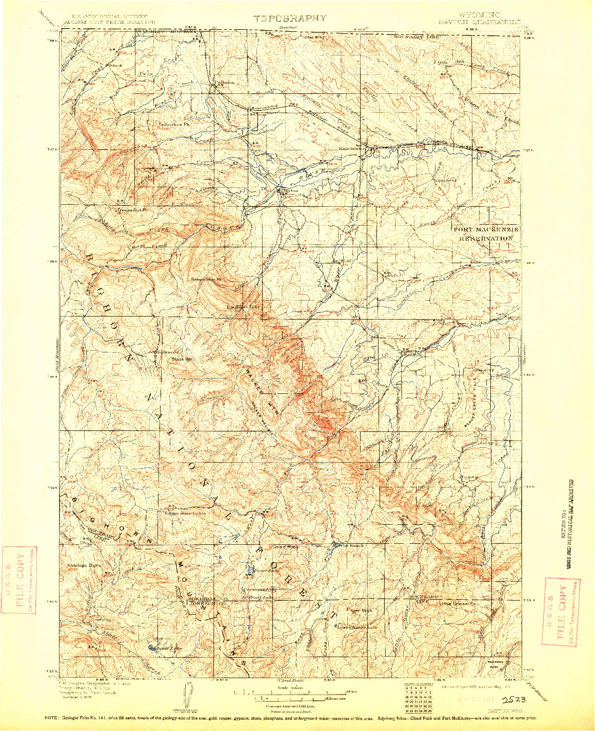 USGS 1:125000-SCALE QUADRANGLE FOR DAYTON, WY 1901