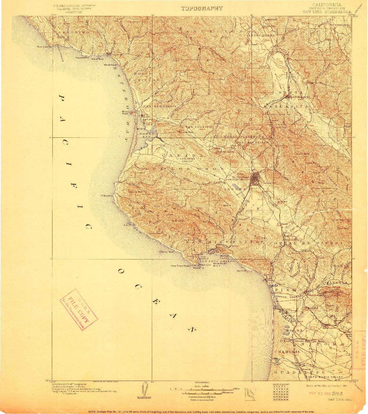 USGS 1:125000-SCALE QUADRANGLE FOR SAN LUIS, CA 1900