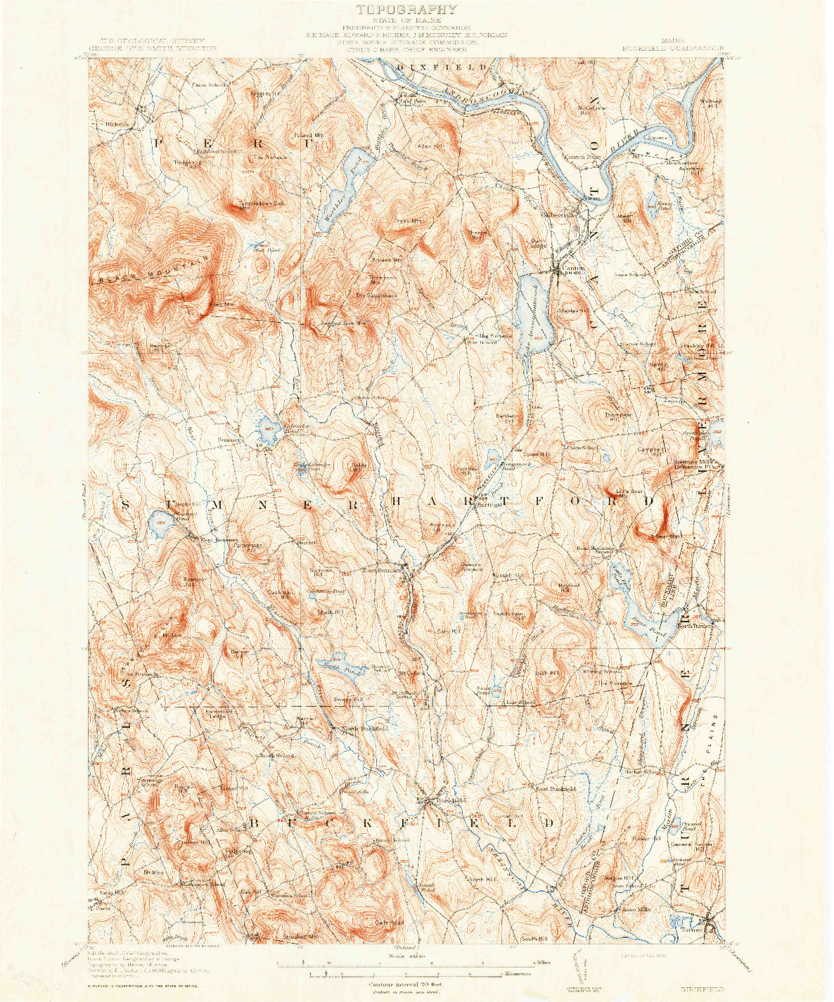 USGS 1:62500-SCALE QUADRANGLE FOR BUCKFIELD, ME 1913