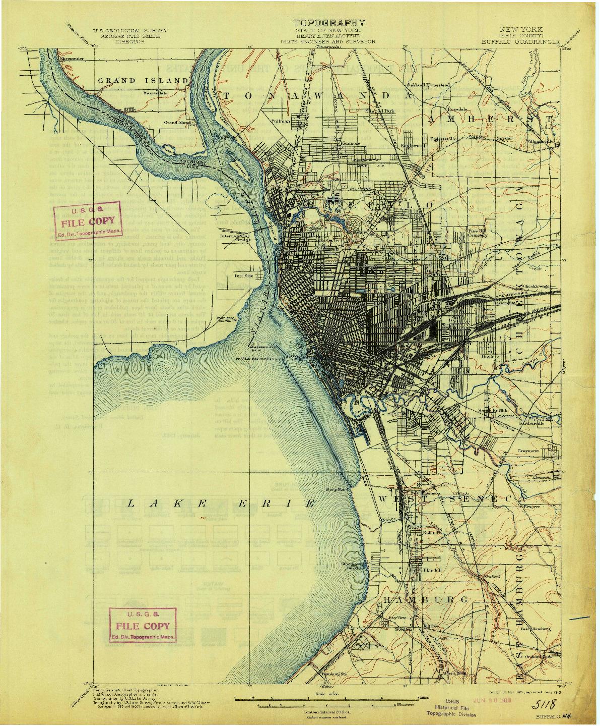 USGS 1:62500-SCALE QUADRANGLE FOR BUFFALO, NY 1901
