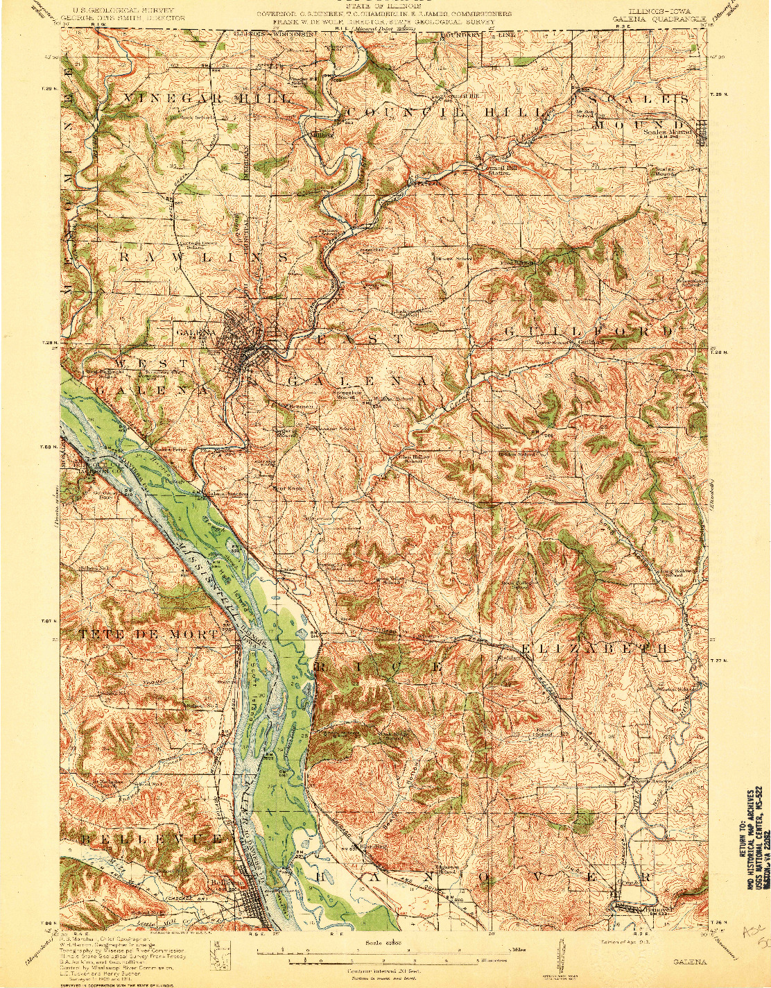 USGS 1:62500-SCALE QUADRANGLE FOR GALENA, IL 1913