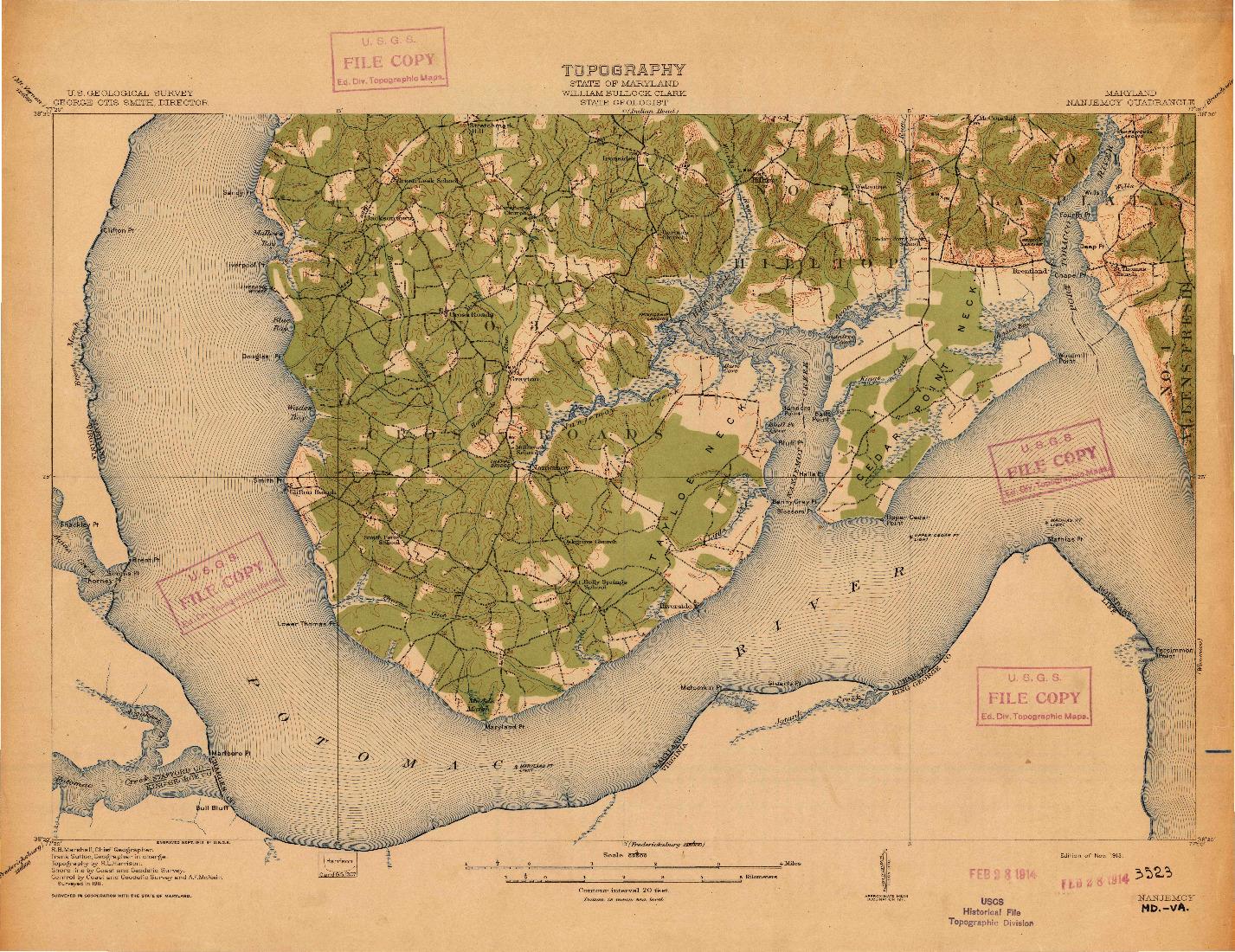 USGS 1:62500-SCALE QUADRANGLE FOR NANJEMOY, MD 1913