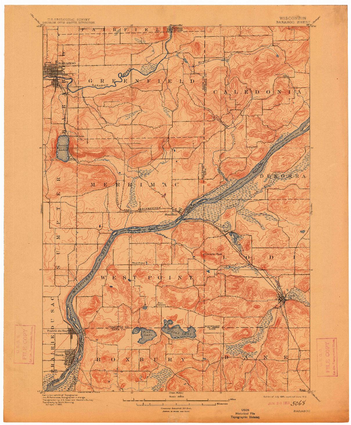 USGS 1:62500-SCALE QUADRANGLE FOR BARABOO, WI 1895