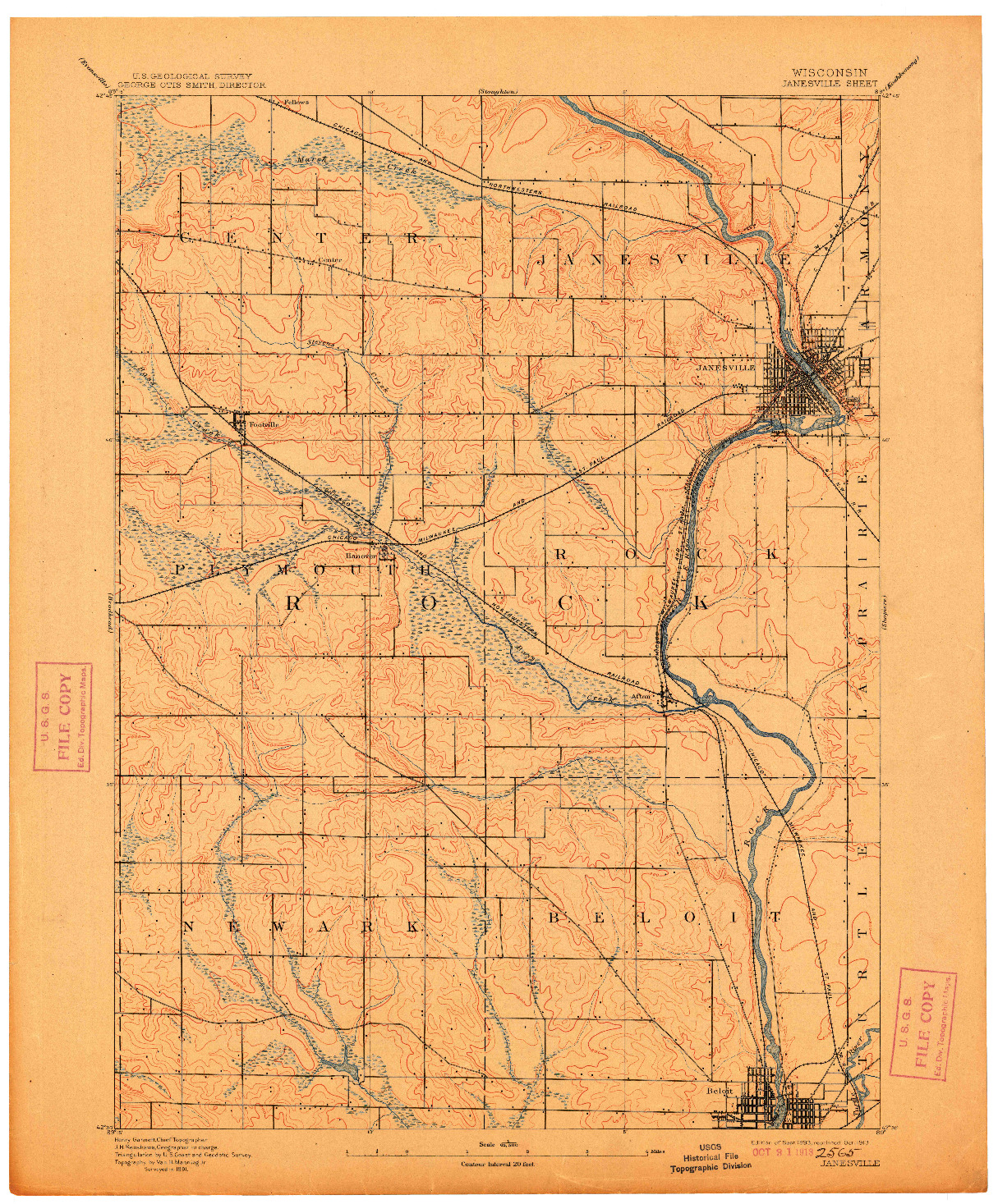 USGS 1:62500-SCALE QUADRANGLE FOR JANESVILLE, WI 1893