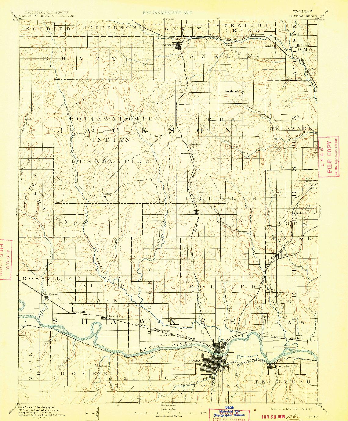 USGS 1:125000-SCALE QUADRANGLE FOR TOPEKA, KS 1894