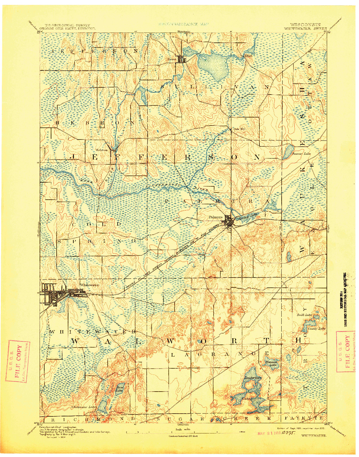 USGS 1:62500-SCALE QUADRANGLE FOR WHITEWATER, WI 1893