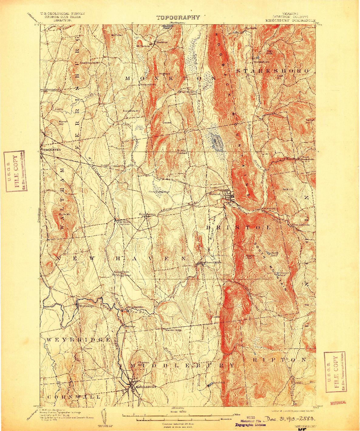 USGS 1:62500-SCALE QUADRANGLE FOR MIDDLEBURY, VT 1905