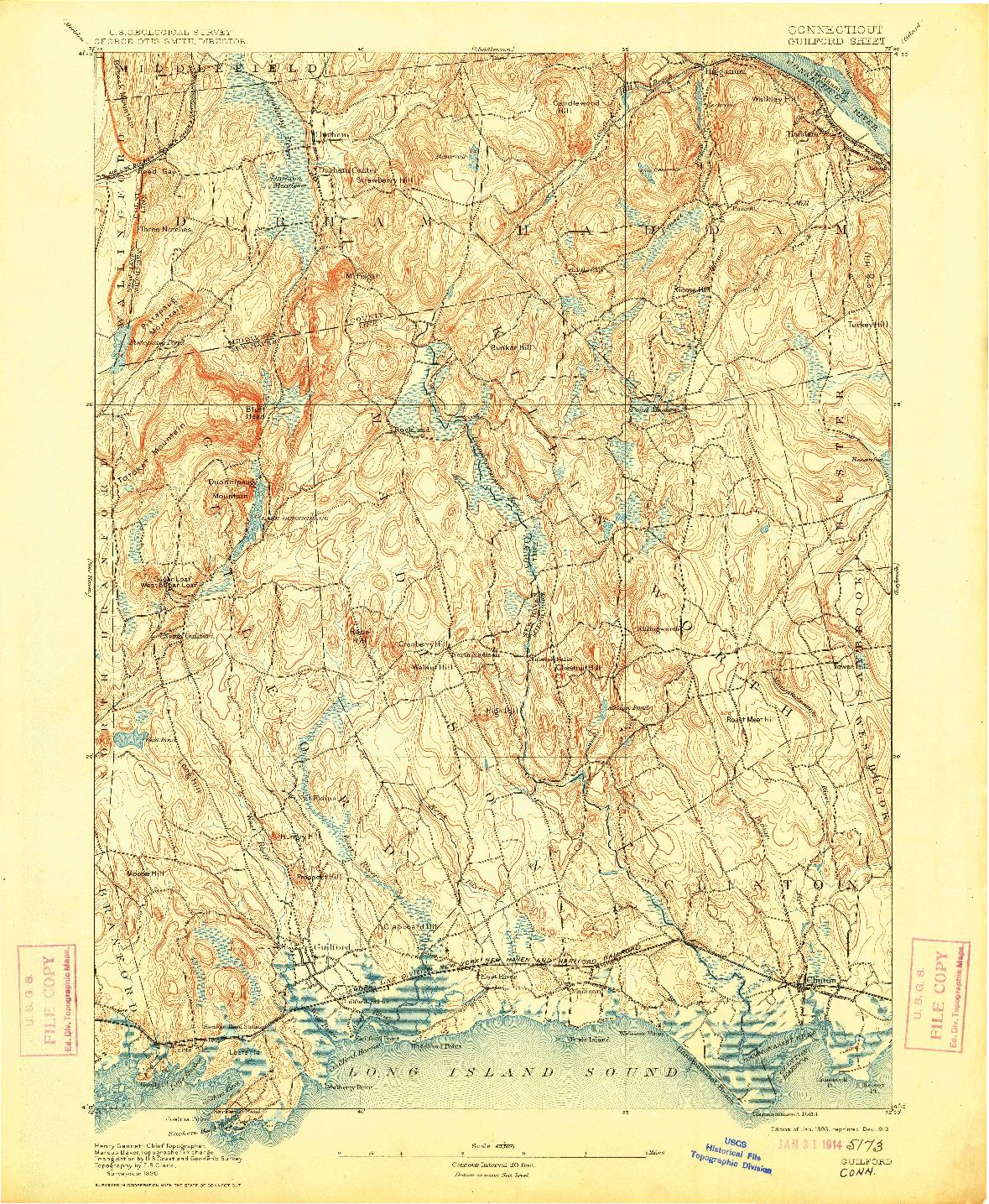 USGS 1:62500-SCALE QUADRANGLE FOR GUILFORD, CT 1893