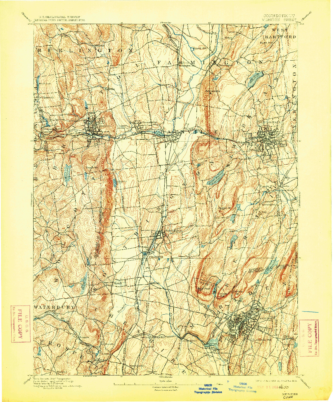 USGS 1:62500-SCALE QUADRANGLE FOR MERIDEN, CT 1893