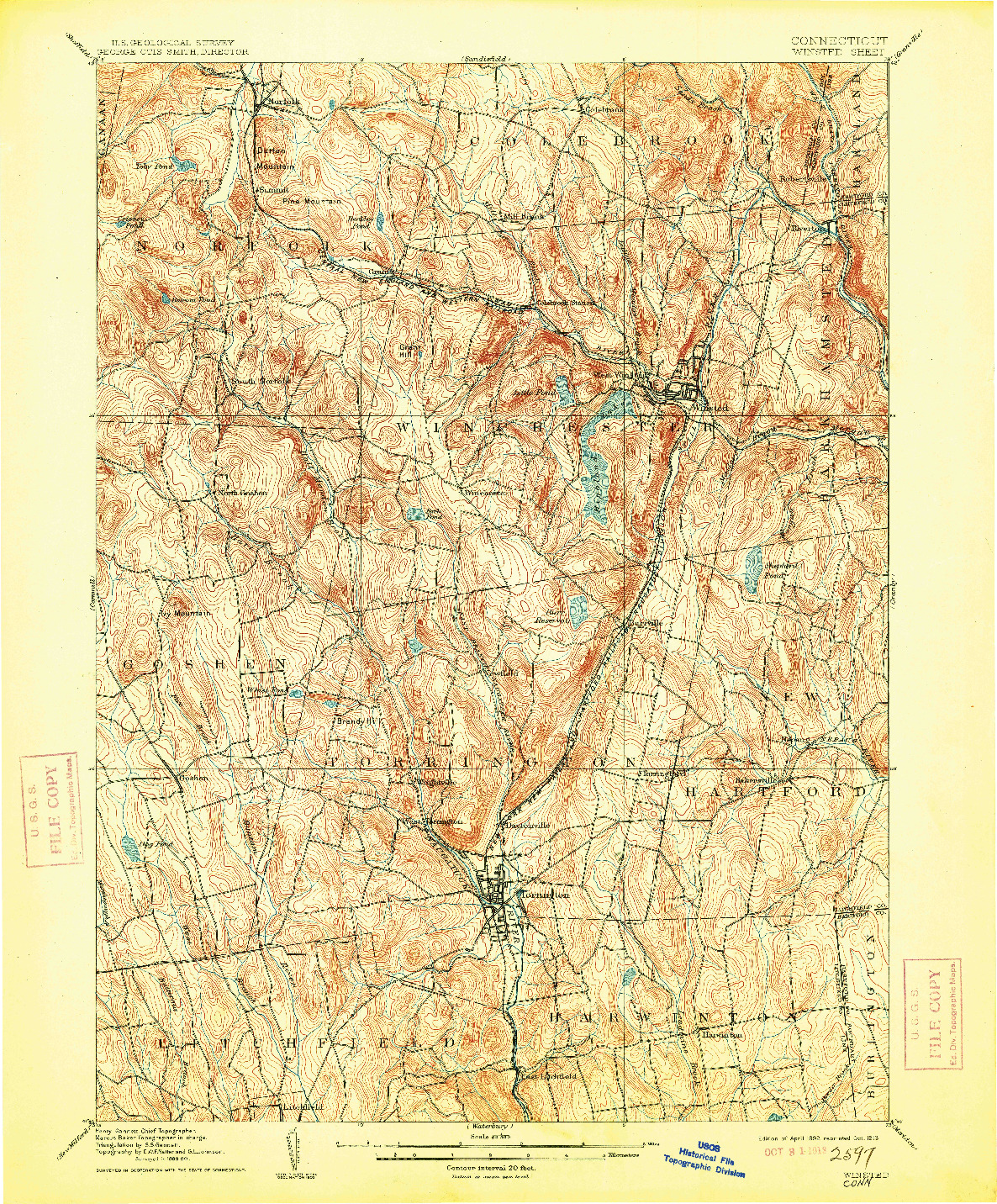 USGS 1:62500-SCALE QUADRANGLE FOR WINSTED, CT 1892
