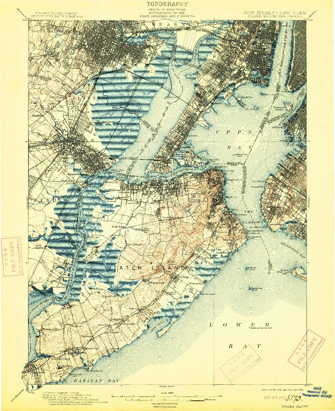 USGS 1:62500-SCALE QUADRANGLE FOR STATEN ISLAND, NJ 1900
