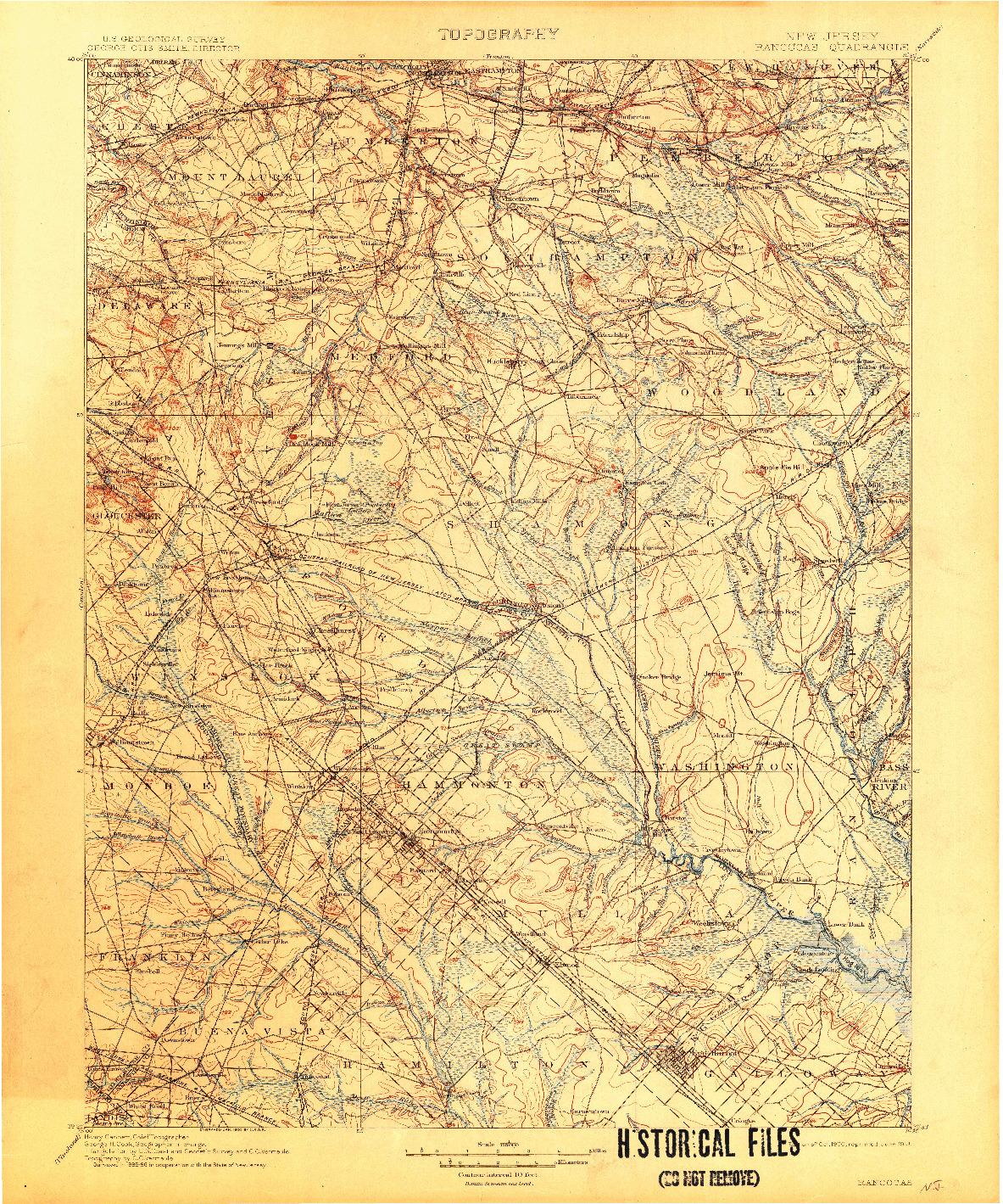 USGS 1:125000-SCALE QUADRANGLE FOR RANCOCAS, NJ 1900