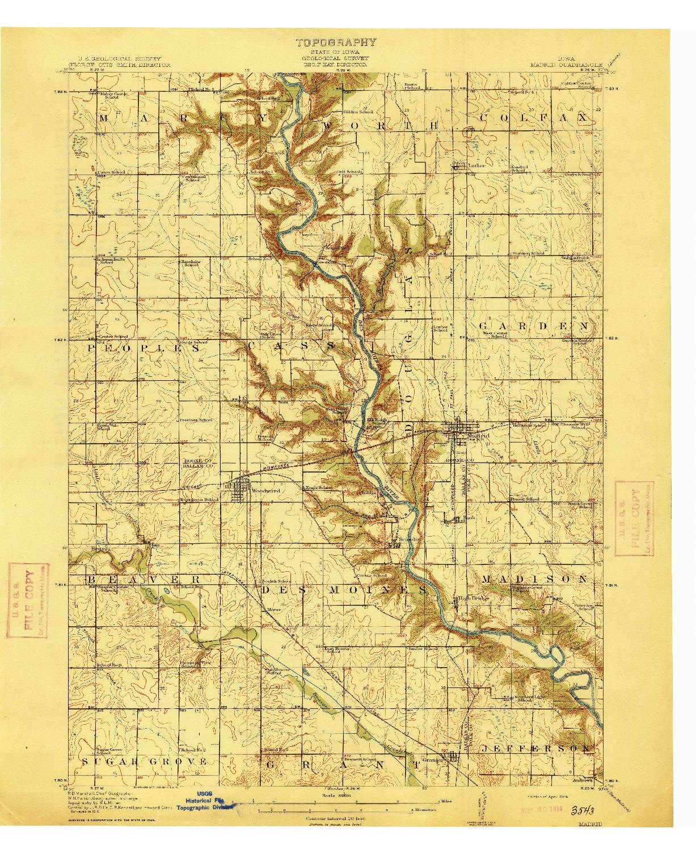 USGS 1:62500-SCALE QUADRANGLE FOR MADRID, IA 1914