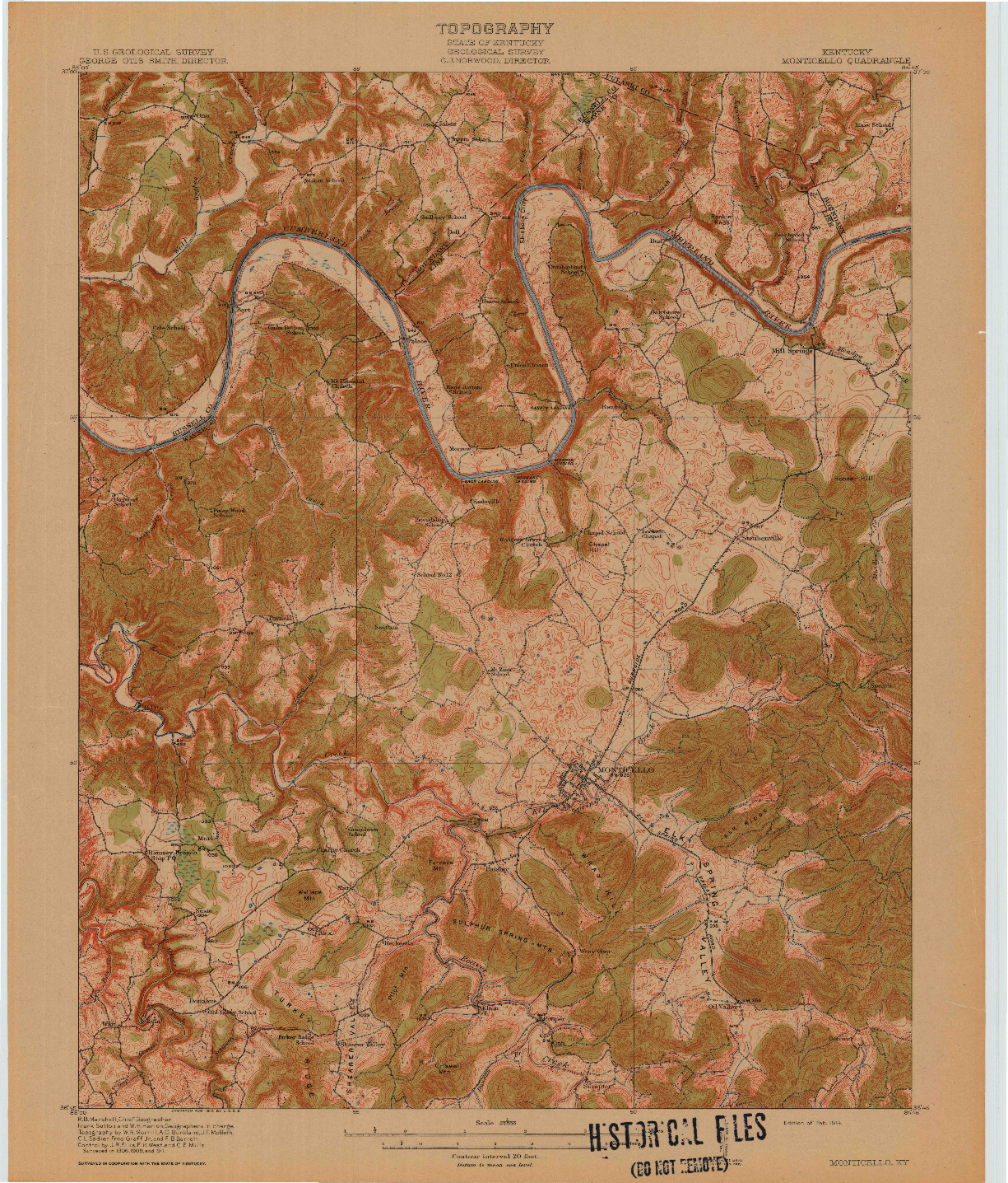 USGS 1:62500-SCALE QUADRANGLE FOR MONTICELLO, KY 1914