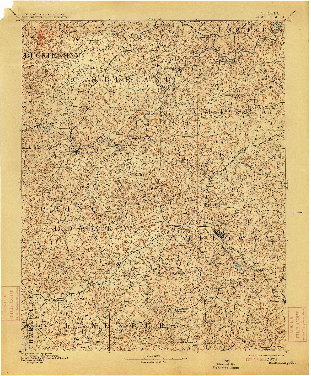 USGS 1:125000-SCALE QUADRANGLE FOR FARMVILLE, VA 1893