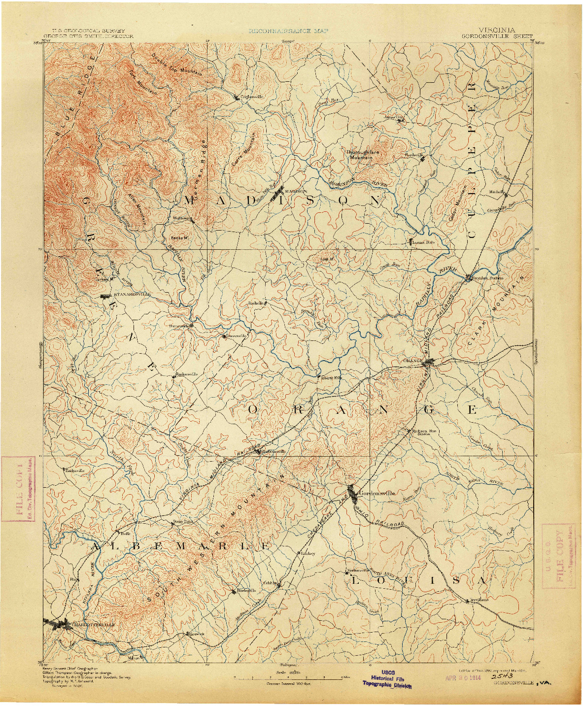 USGS 1:125000-SCALE QUADRANGLE FOR GORDONSVILLE, VA 1892