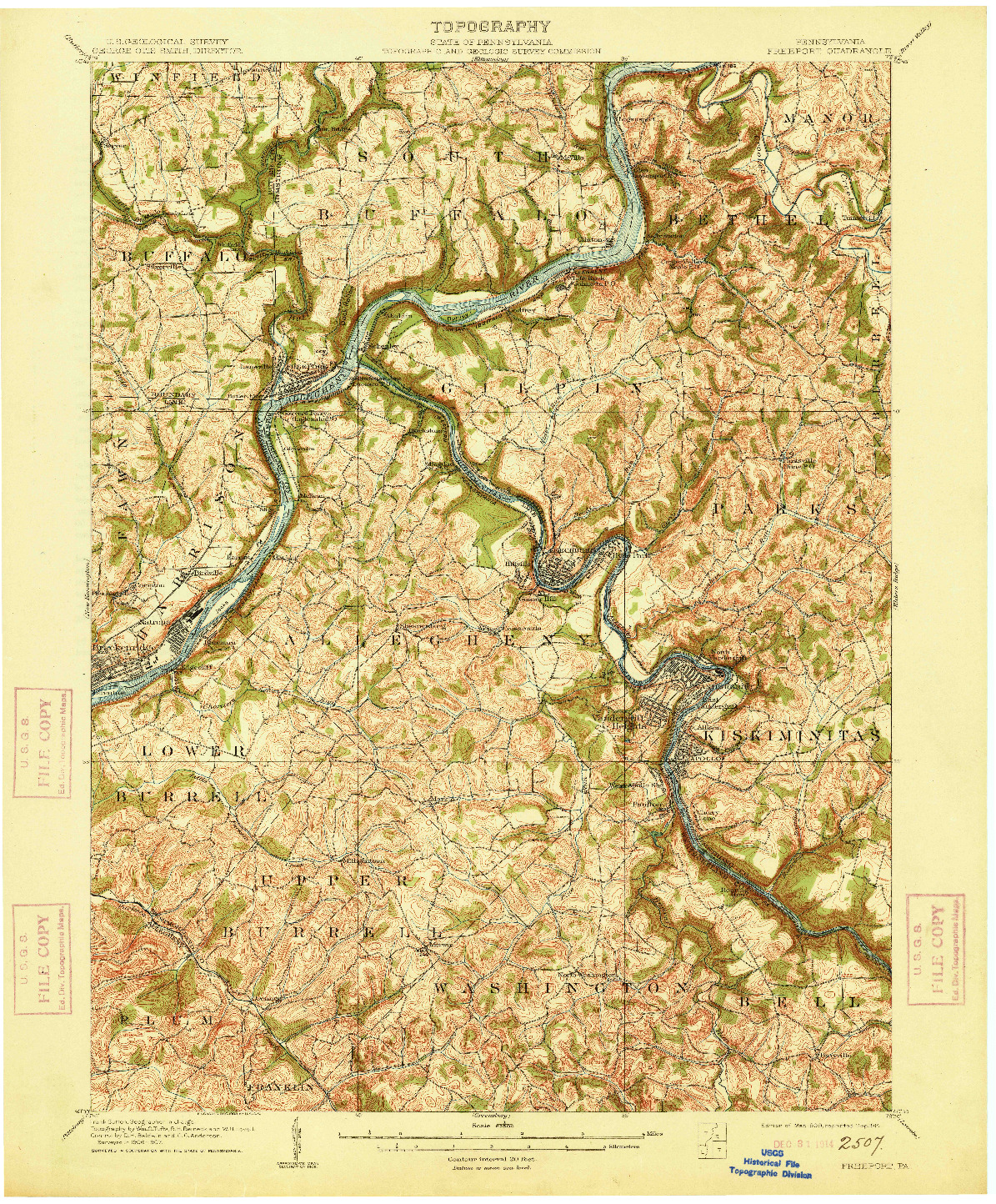 USGS 1:62500-SCALE QUADRANGLE FOR FREEPORT, PA 1909