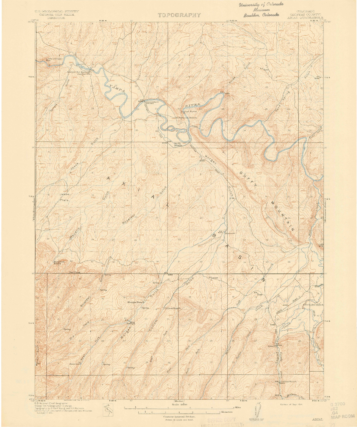 USGS 1:62500-SCALE QUADRANGLE FOR AXIAL, CO 1914