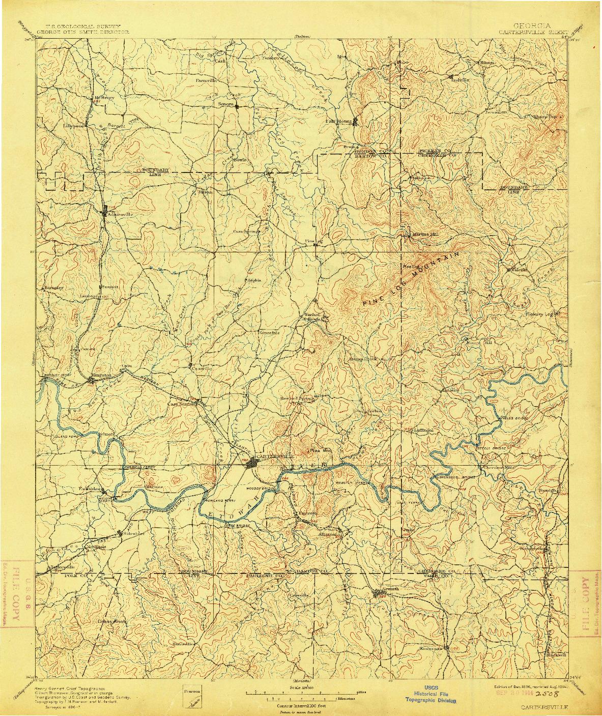 USGS 1:125000-SCALE QUADRANGLE FOR CARTERSVILLE, GA 1896