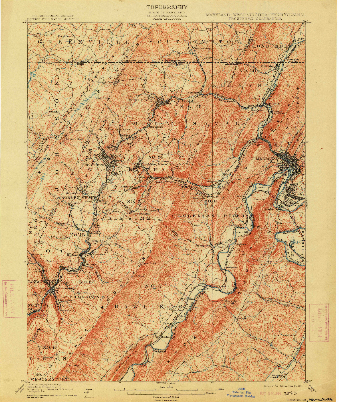 USGS 1:62500-SCALE QUADRANGLE FOR FROSTBURG, MD 1908