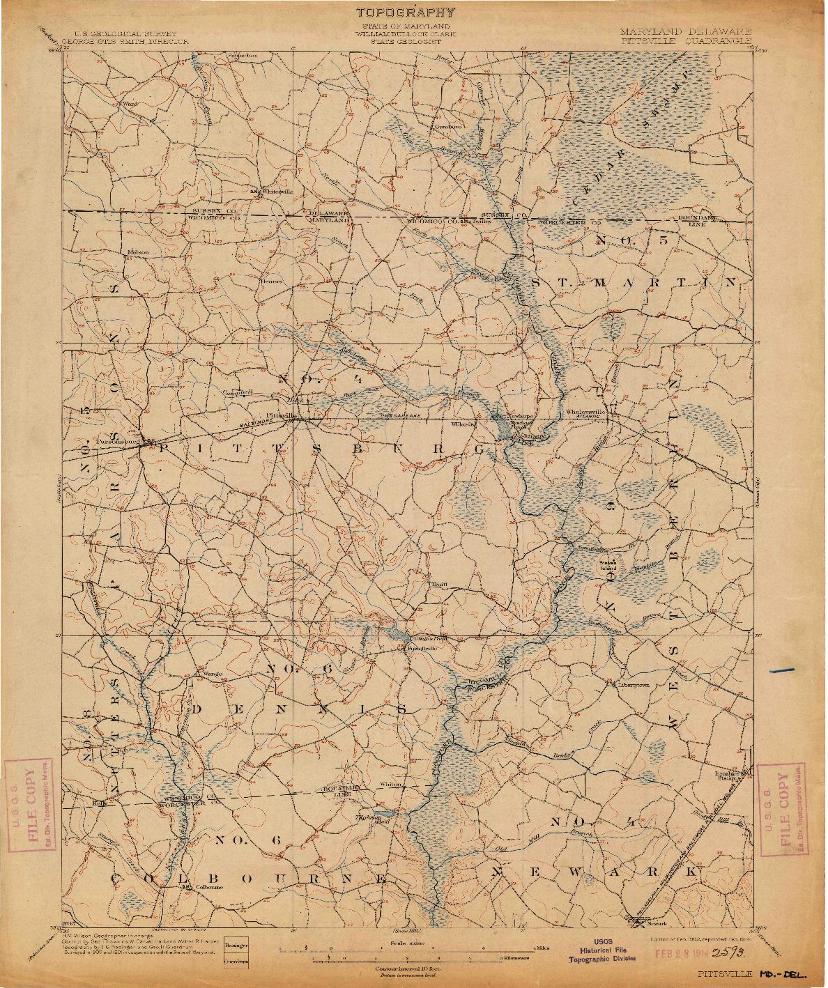USGS 1:62500-SCALE QUADRANGLE FOR PITTSVILLE, MD 1902