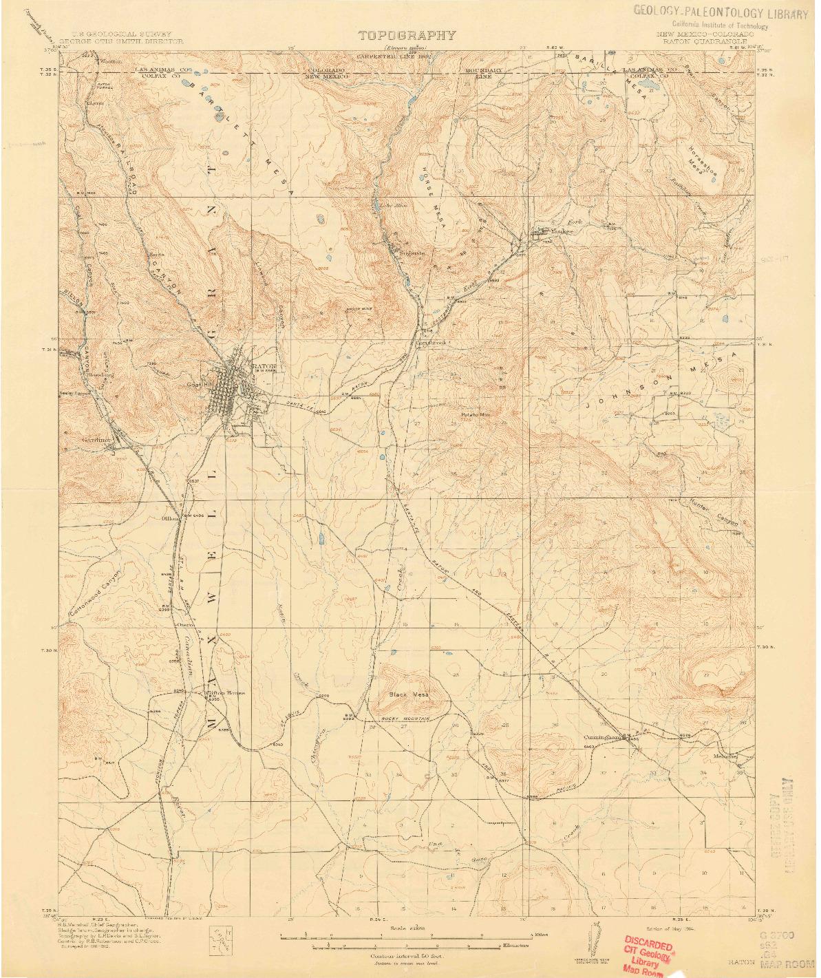 USGS 1:62500-SCALE QUADRANGLE FOR RATON, NM 1914