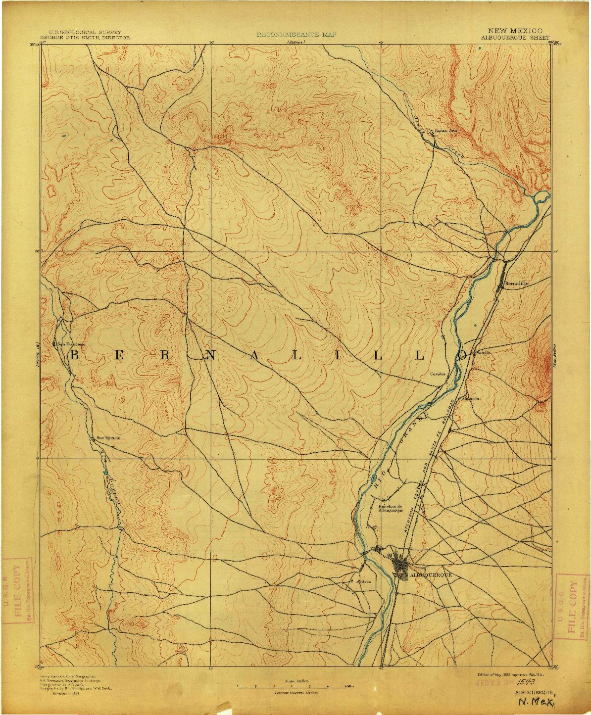 USGS 1:125000-SCALE QUADRANGLE FOR ALBUQUERQUE, NM 1893