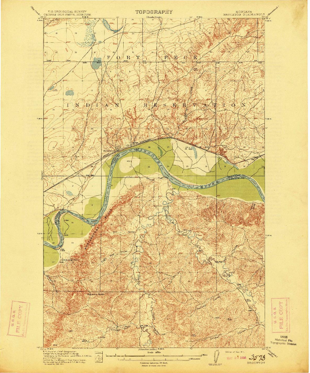 USGS 1:62500-SCALE QUADRANGLE FOR BROCKTON, MT 1914