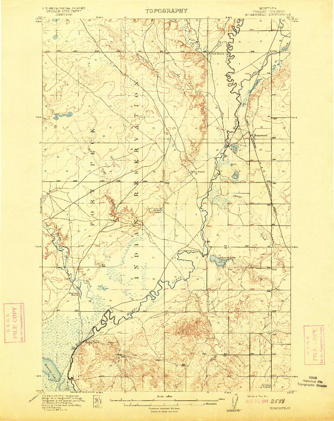 USGS 1:62500-SCALE QUADRANGLE FOR HOMESTEAD, MT 1914
