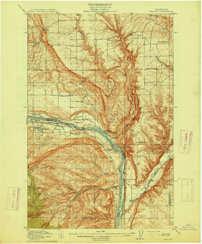 USGS 1:62500-SCALE QUADRANGLE FOR MALAGA, WA 1914