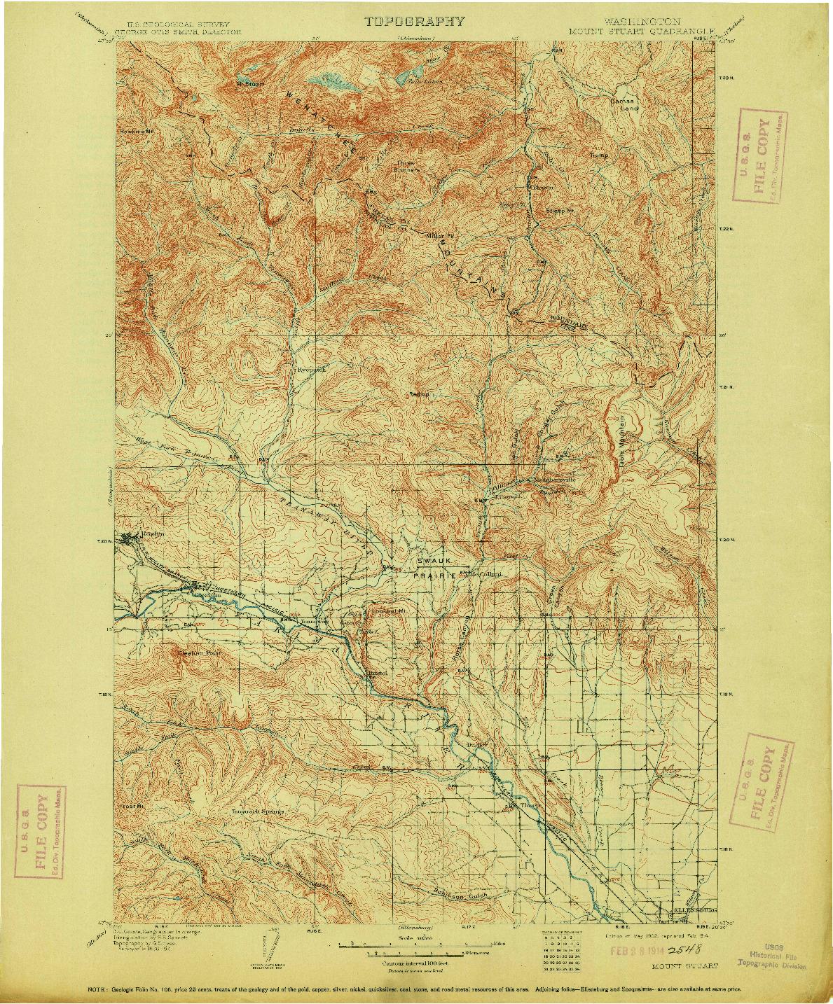 USGS 1:125000-SCALE QUADRANGLE FOR MOUNT STUART, WA 1902