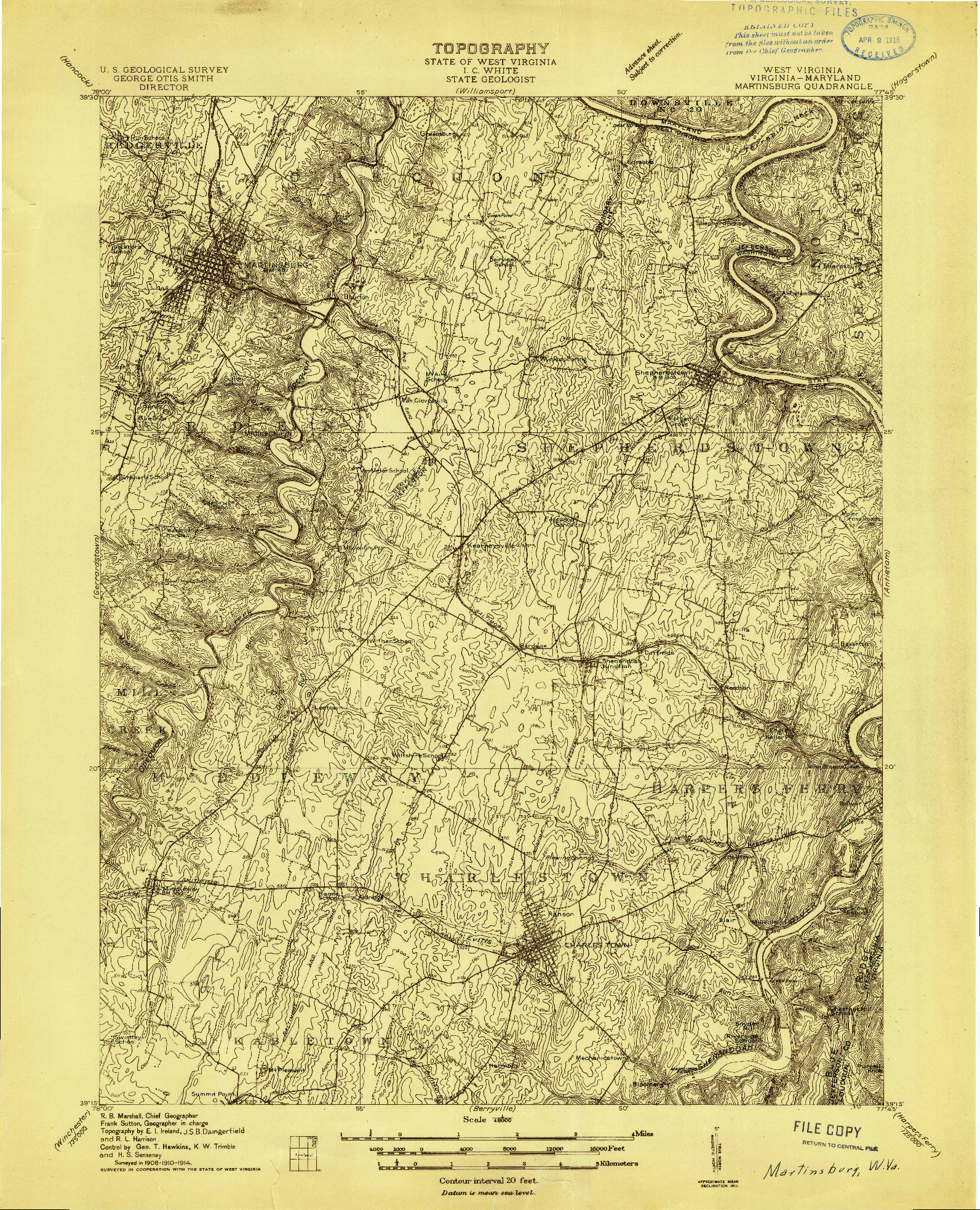 USGS 1:48000-SCALE QUADRANGLE FOR MARTINSBURG, WV 1914