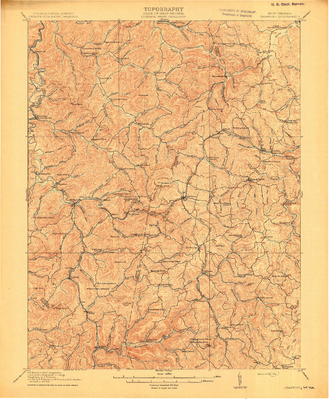 USGS 1:62500-SCALE QUADRANGLE FOR CRAWFORD, WV 1914