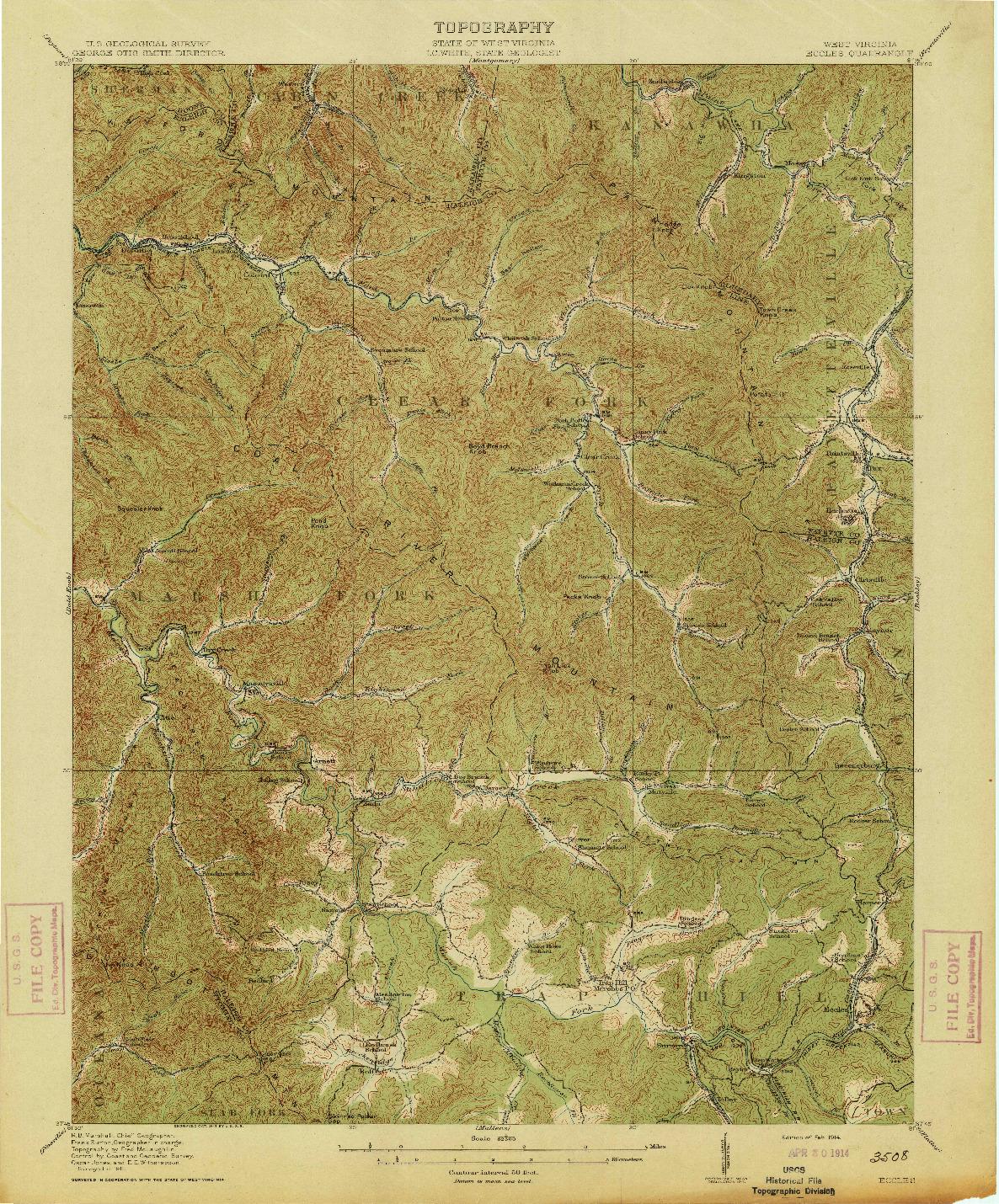 USGS 1:62500-SCALE QUADRANGLE FOR ECCLES, WV 1914