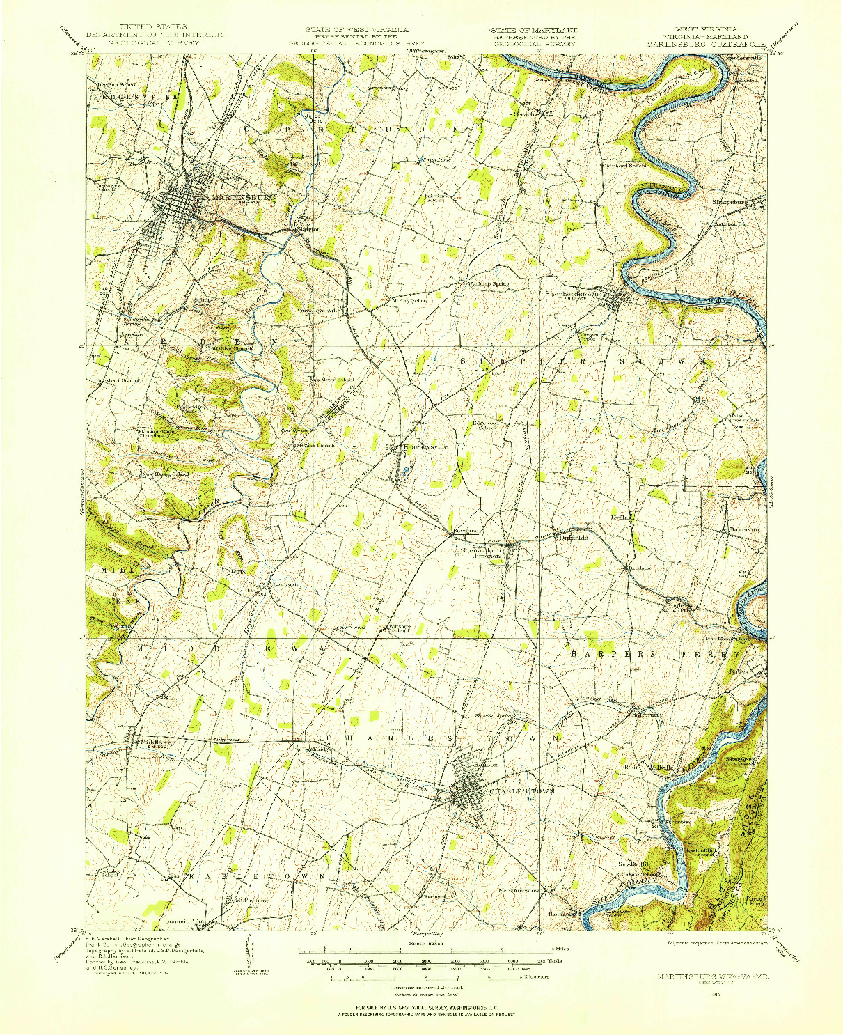USGS 1:62500-SCALE QUADRANGLE FOR MARTINSBURG, WV 1914