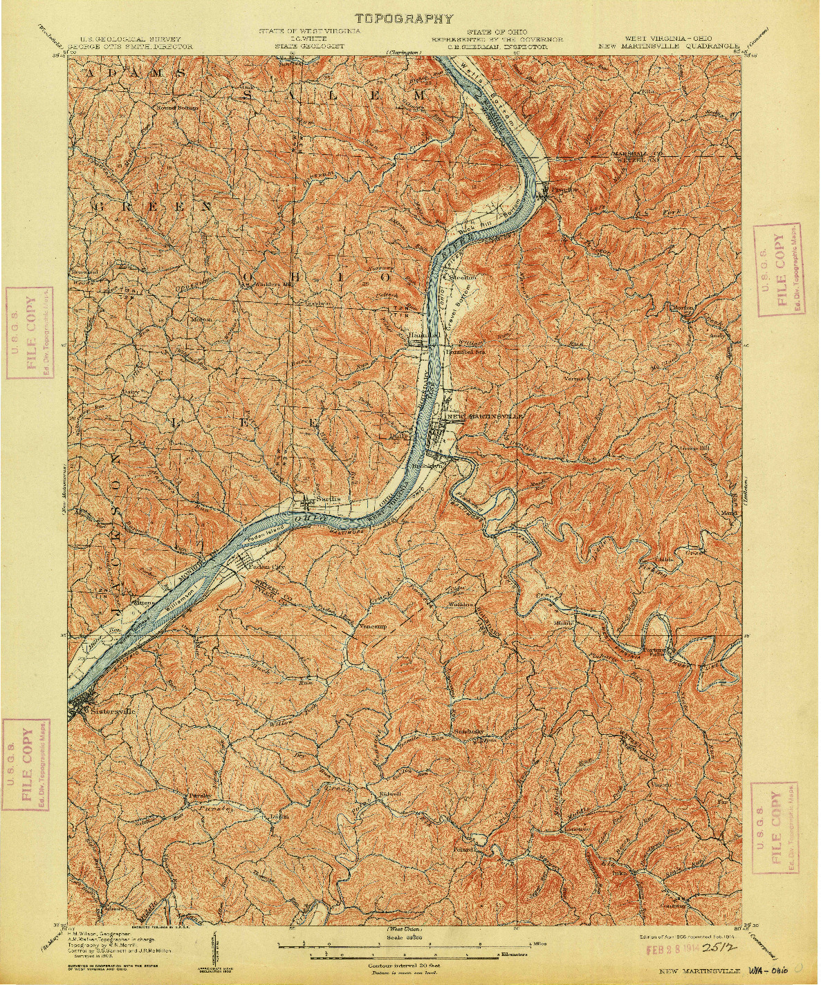 USGS 1:62500-SCALE QUADRANGLE FOR NEW MARTINSVILLE, WV 1906