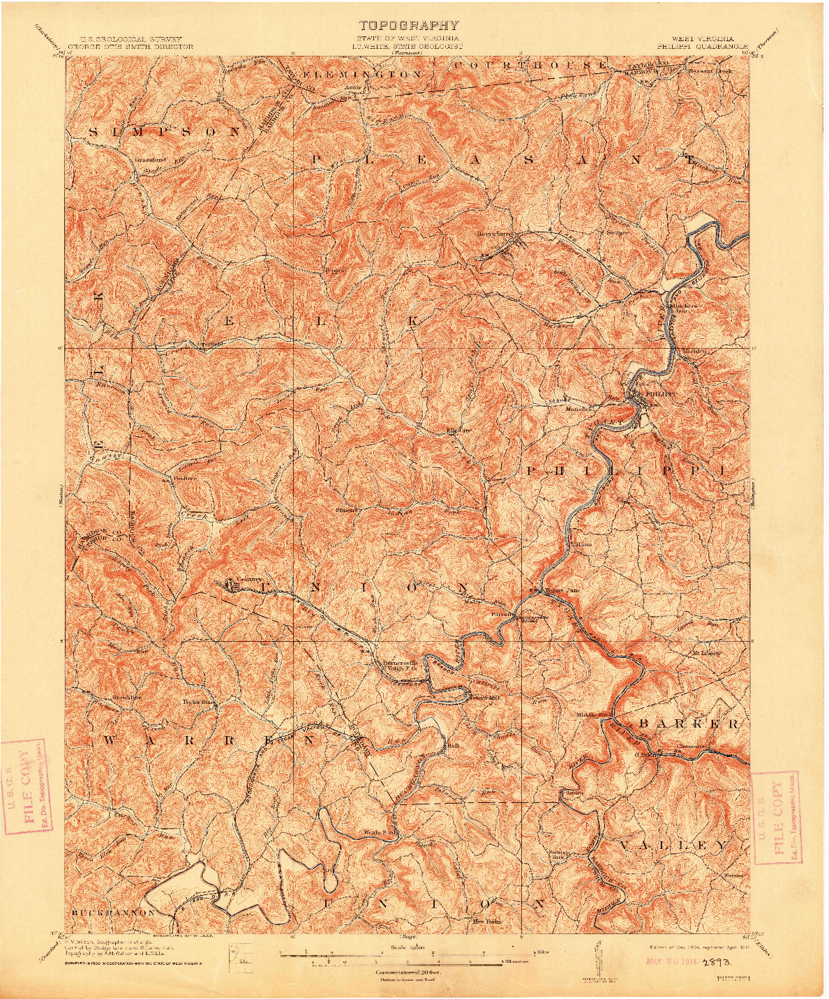 USGS 1:62500-SCALE QUADRANGLE FOR PHILIPPI, WV 1904