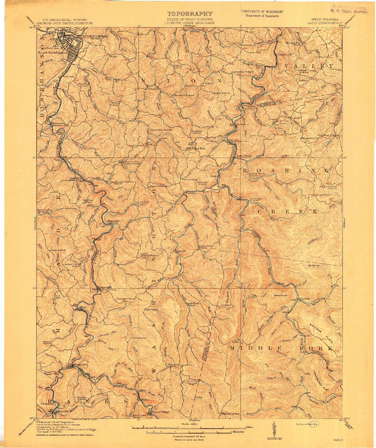 USGS 1:62500-SCALE QUADRANGLE FOR SAGO, WV 1914